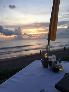 Dinner at Sunset. Breeze Restaurant Seminyak Bali