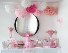 pink-white-wedding-dessert-candy-buffet-tissue-paper-pom-poms.jpg (800×633)