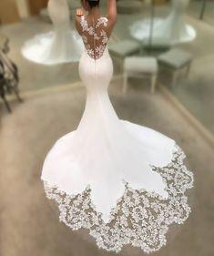 Sexy Lace Applique V-neck Mermaid Wedding Dress – bridalswish Classic Wedding Dress, Sexy Wedding Dresses, Cheap Wedding Dress, Bridal Dresses, Wedding Gowns, Lace Wedding, Modest Wedding, Bridesmaid Dresses, Prom Dresses