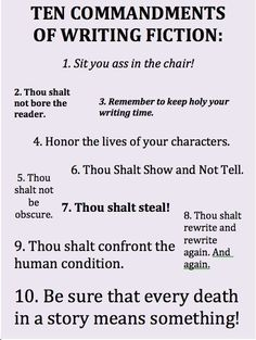 Ten Commandments of Writing Fiction.