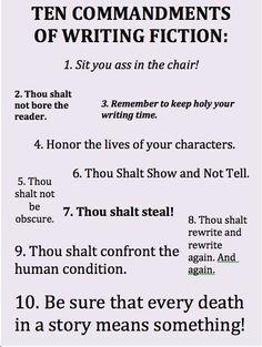 Ten Commandments of Writing Fiction.
