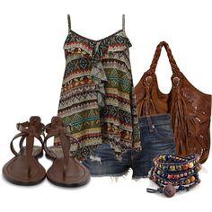 Comfy Summer... a bit of tribal print on the top, boho feel to cut-off shorts and fringe on bag.  Bead bracelet and leather sandals - nothing fake, plastic or unnatural about this getup.  Very pretty and down to earth.