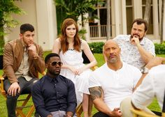 Nick Jonas, Kevin Hart, Karen Gillan, Dwayne Johnson and Jack Black of Jumanji: Welcome to the Jungle (2017).