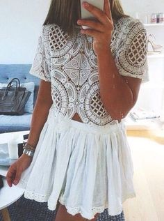 All white everything; white dress; Spring and Summer style