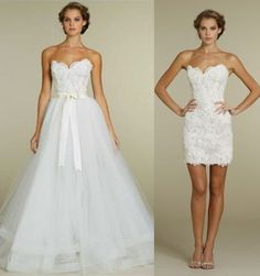 2 In 1 Lace Pencil Dress With Removable Tulle Skirt Wedding Dress Bridal Gown on Luulla