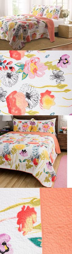 Quilts Bedspreads and Coverlets 175749: Full-Queen 3-Piece Watercolor Vibrant Cotton Reversible Bed Quilt Set W Shams -> BUY IT NOW ONLY: $101.23 on eBay!