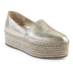 Miu Miu Metallic Leather Espadrille Platform Espadrilles ($585) ❤ liked on Polyvore featuring shoes, sandals, flats, gold, platform espadrilles, platform sandals, leather flats, leather espadrilles and leather flatform sandals