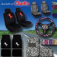 Horse and zebra print car seat covers and floor mats! Stylish looking and will help protect your vehicle and hide any stains or tears | ChickSaddlery.com