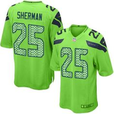 Seattle Seahawks Richard Sherman Green Nike Game NFL  25 Men s Alternate  Green Monday Jersey Football a54a20d3d