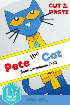 Pete the Cat book craft goes with any of the Pete the Cat books. Pete is an easy craft for elementary kids. Red sneakers and a yellow coat with buttons are also included. Cut and paste patterns allow for multiples to be printed at once. Pete will look so cute on your classroom walls! An easy book companion craft for kids preschool, kindergarten, grade 1, grade 2 $ #petethecatcraft #bookcraftsforkids #picturebookcrafts #lindavalentino #teacherspayteachers Cat Crafts, Animal Crafts, Book Crafts, 3rd Grade Classroom, Classroom Walls, Preschool Kindergarten, Preschool Crafts, Back To School Kids, Yellow Coat
