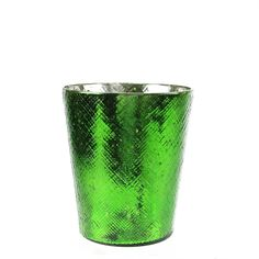 5.5 Decorative Green and Silver Mercury Glass Votive Candle Holder
