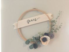 Modern PEACE wreath on embroidery hoop by GandTeaLove on Etsy