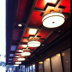 Exterior Pendants at the Phillips Hotel in Kansas City. During our renovation it took forever to find these fixtures to go with the Art Deco Architecture of this 100 year old hotel Porte Cochere, Art Deco Hotel, Art Deco Design, Ceiling Design, Ceilings, Kansas City, Restoration, Original Art, Pendants