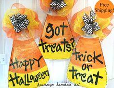 FREE+SHIPPING++Candy+Corn+Door+Hanger++by+BronwynHanahanArt,+$50.00