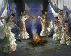 Oleo danza flamenca