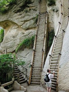 90 degree stairs , Mt. Huashan, China. - Climbing the South Peak is on my bucket list.