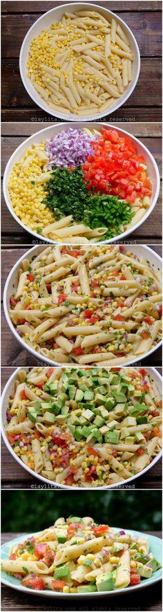 Corn pasta salad with tomato and avocado preparation
