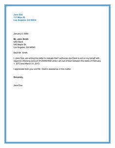 Authorization Letter Format For Bank Authorization Letter