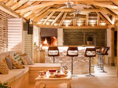 A warm and cosy ambiance in which to spend a chilly winter's day or night. Living At Home, Living Spaces, Outdoor Gazebos, Roof Covering, Natural Homes, Backyard Play, Roof Structure, Thatched Roof, Pool Bar