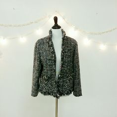 🎉HP X2🎉Chico's Blazer 🎉HP🎉5/8/15 @noahsmama04 thanks so much!   Chico's womens lined black and white with colored threads. 74% acrylic 25% polyester lining 100% acetate dry clean only.  I love this but find I never wear it. Please ask questions all sales are final. Accept purchase when received, thanks for looking.  💠See other Chico's listing for Chico's Capris for Chico's size chart from their website💠 🎉HP🎉09/14/2016 Pre Fall Vibes HP by @sparkling1 thanks so much! Chico's Jackets…