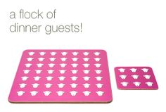 Tough and durable 'Flock' tablemats are made in the UK from melamine faced, sustainable Eucalyptus board with a natural cork backing. Matching coaster available.  Resistant to temperatures up to 165 degrees. Size 240 x 240 x 4.8mm. Not suitable for dishwasher. Store out of direct sunlight.  £10