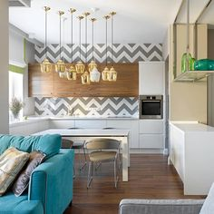 """Love the chevron backsplash #ideas #interior #interiordesign #kitchen #colors #home #homedecor #lamp #architecture #apartment #love"""