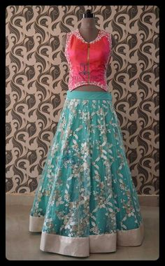 Love d combo Sari Blouse Designs, Blouse Patterns, Indian Dresses, Indian Outfits, Punjabi Girls, Indian Bridal Lehenga, Oriental Fashion, Indian Attire, Half Saree