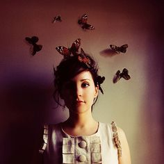 Whimsical Portrait, Butterflies, 5x5 Photograph, Woman with Butterflies, Fine Art Print, Maroon, Wine, Burgundy, Surreal Photography on Etsy, $15.00