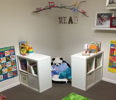 Reading nook using ikea kallax shelves