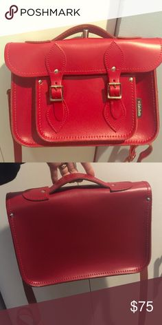 """Zatchels Cambridge satchel bag Brand new! 15"""" Cambridge Satchel. Classic version does not come with the handle but Cambridge model does. It is definitely more useful for picking it up:) (Zatchels is the handmade leather satchel bag brand from UK) Beautiful Red color. zatchels Bags Satchels"""
