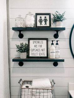Bauernhaus Badezimmer Dekor und Ideen - Bathroom Ideas Farmhouse Bathroom Decor and Ideas - Bathroom Ideas - decoration Cheap Home Decor, Diy Home Decor, Decor Crafts, Diy Bathroom Decor, Bathroom Organization, Bathroom Furniture, Bathroom Cabinets, Bathroom Designs, Cute Bathroom Ideas