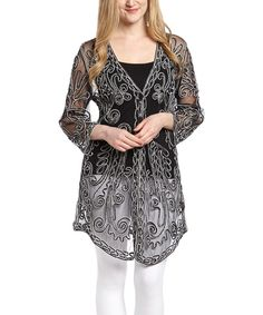 Look at this Black & White Sheer Embroidered Silk-Blend Duster