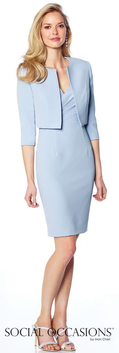 Short Evening Dresses by Mon Cheri - Spring 2017 - Style No. 117812 - light periwinkle short evening dress with bolero jacket