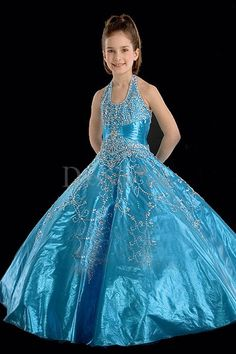 Metallic Embroidered Halter Taffeta Flower Girl Gown