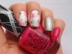 OPI Hey Baby, OPI This Gown Needs A Crown & Gina Tricot White with rhinestones and stamping (OPI Hey Baby & Depend 223)