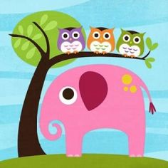 Elephant with Three Owls Canvas Art - Nancy Lee x Owl Wall Art, Elephant Wall Art, Pink Wall Art, Elephant Room, Elephant Print, Baby Elephant, Owl Home Decor, Elephant Home Decor, Owl Canvas