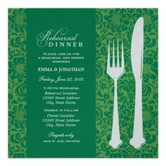 Wedding Rehearsal Dinner Invitations | Fine Dining #emerald #green #damask #fork #knife #elegant #invites #design