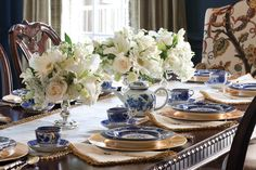 Classic blue-and-white china sets the mood for a memorable afternoon tea. Visit Victoriamag.com for delectable recipes and tablescape inspiration.