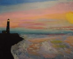 """""""Lighthouse at Sunset""""  20 x 16 acrylics on canvas panel"""