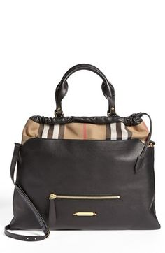 Burberry 'Big Crush - House Check' Leather Tote available at #Nordstrom