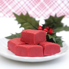 Red Velvet Fudge: 1 1/4 C. white chocolate chips  1 T. semi-sweet chocolate chips   1/4 t. baking soda  pinch salt  3/4 C. sweetened condensed milk  1/2 t. vanilla extract  1 t. red food coloring  1 t. cocoa powder