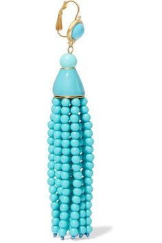 Kenneth Jay Lane - Tasseled Gold-tone Beaded Earrings - Turquoise - one size
