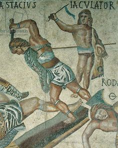 Battle between Gladiators, detail of a gladiator fighting and a victorious gladiator, 320 AD (mosaic), Roman, (4th century AD) / Galleria Borghese, Rome, Italy / Alinari / The Bridgeman Art Library