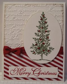 handmade Chrismas card from In My Craft Room ... luv the festive look with red and white stripes and deep red seam binding bow ... tree stamped and then deccorated with red glitter glue dots ... Stampin' Up!