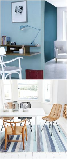 'As the colour of the sky and the ocean, the naturally cooling and calming effects of blue work well to inspire tranquillity in bedrooms and bathrooms. Lighter, brighter blues work better to encourage a calming environment than deeper regal and navy tones. The colour is also associated with intelligence and productivity, and is therefore a good choice for a home office' - Furniture Village. (Photo: Dulux / Woven).