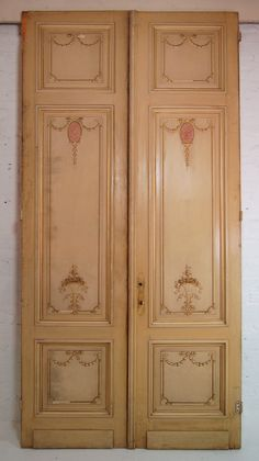 Pair Of Beautiful    Painted French Doors