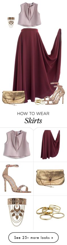 """""""Cranberry Maxi Skirt"""" by dazzlious on Polyvore featuring Chicwish, Manolo Blahnik, New Look, Kendra Scott and Dolce&Gabbana"""