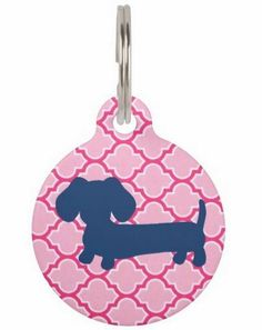 ID Tags   Navy Dachshund on Pink