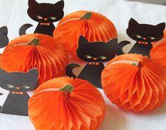 Vintage Halloween Honeycomb Pumpkins Black by HelenandherDaughters