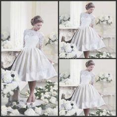 New arrival! White ivory knee length lace long sleeve wedding dress short  vintage Wedding Dresses 239edb032a4